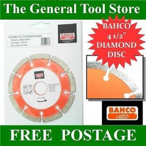 "BAHCO 4 1/2"" 115 MM ANGLE GRINDER DIAMOND CUTTING DISC :  STONE MASONRY CONCRETE"